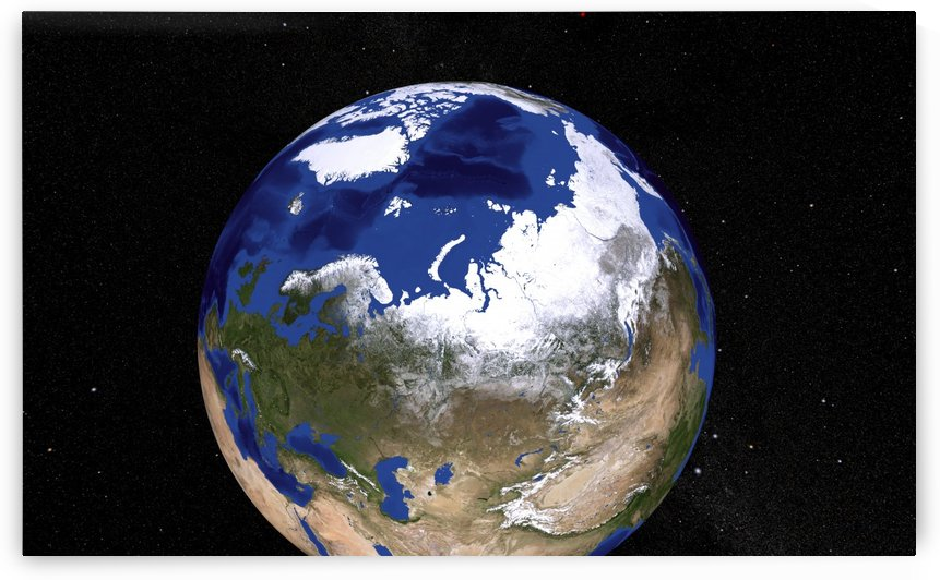 View of Earth showing the Arctic region. by StocktrekImages