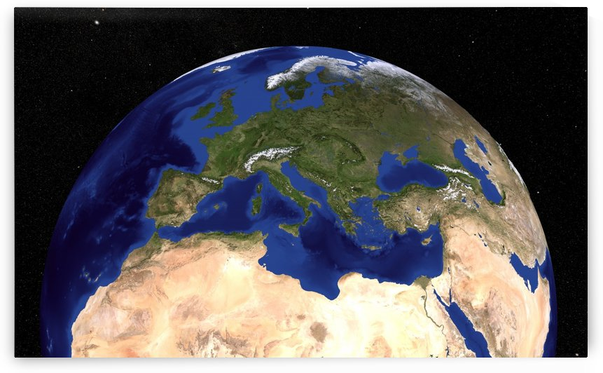 The Blue Marble Next Generation Earth  showing the Mediterranean Sea. by StocktrekImages