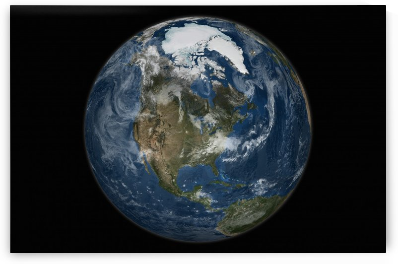 A view of the Earth with the full Arctic region visible. by StocktrekImages