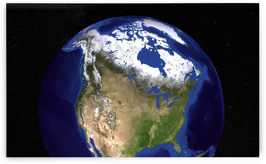 The Blue Marble Next Generation Earth showing the United States Canada and Greenland. by StocktrekImages