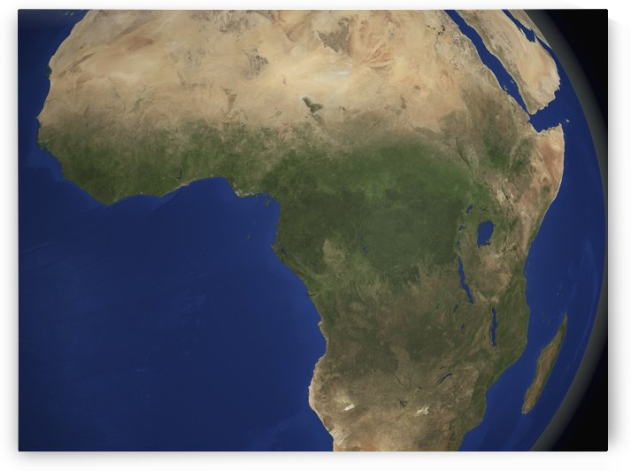 Earth showing landcover over Africa. by StocktrekImages