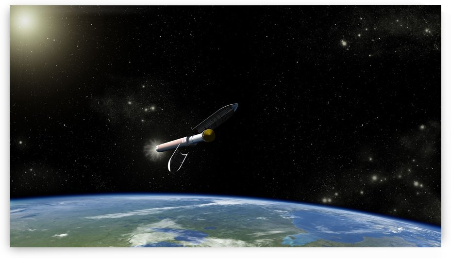Artists concept of the Atlas V541 launch vehicle in orbit. by StocktrekImages