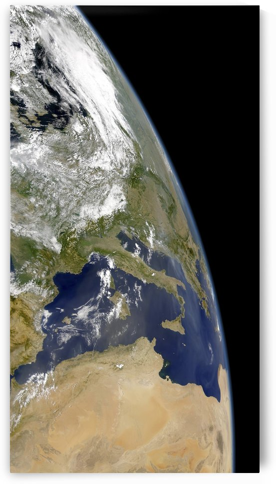 View of the western Mediterranean with visible smoke in the Balkans and dust from the Sahara desert.  by StocktrekImages
