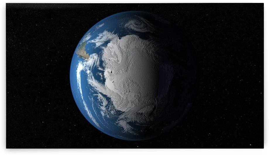 Full Earth showing simulated clouds over Antarctica. by StocktrekImages