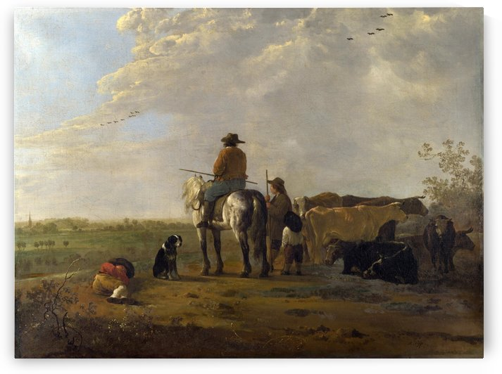 A Landscape with Horseman, Herders and Cattle by Aelbert Cuyp
