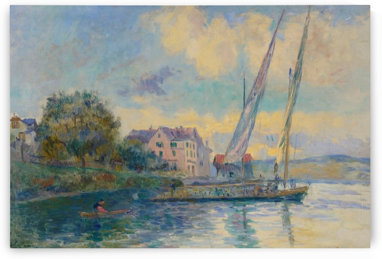 The Bank of Geneve Lake, Saint-Gingolph by Albert lebourg