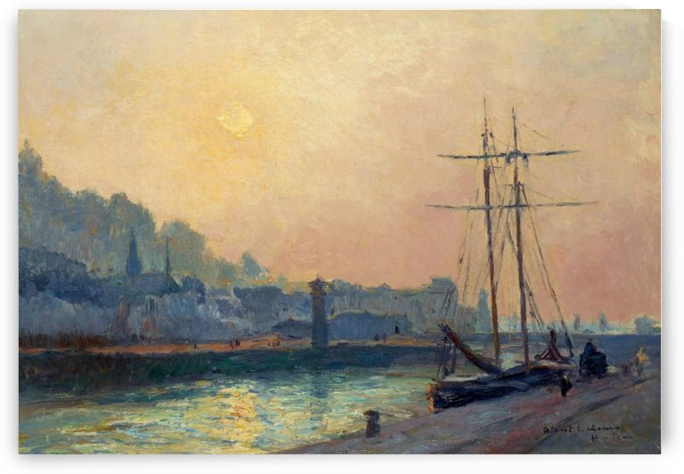 At the Port at Honfleur by Albert lebourg