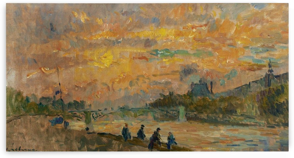 The Bridge of Saint-Peres at Paris, the Sunset by Albert lebourg