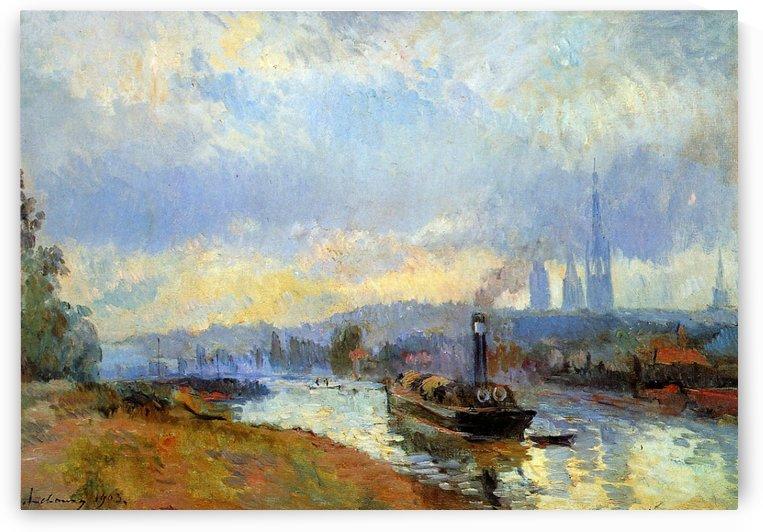 The Port near Rouen by Albert lebourg