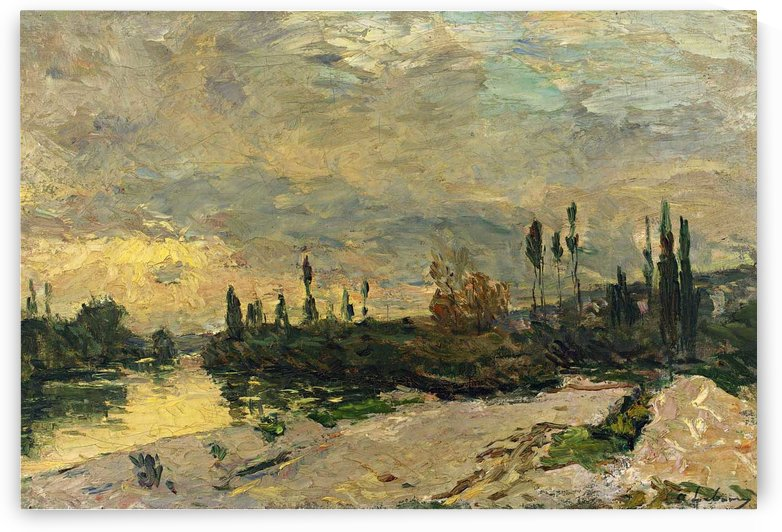 The Sunset at the Seine near Vetheuil by Albert lebourg