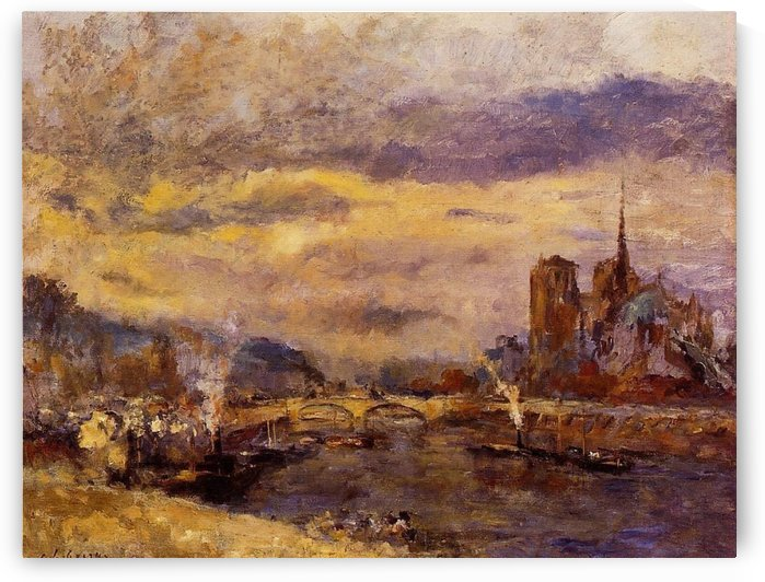 A Boat on the Seine by Albert lebourg
