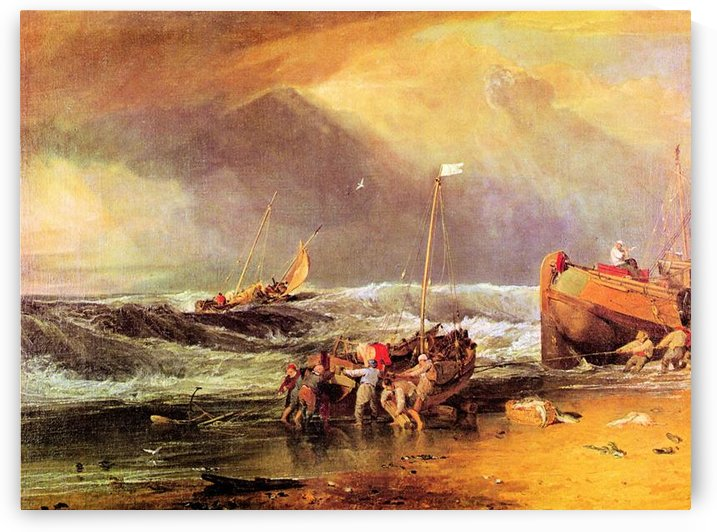 Coastal scene with fishermen by Joseph Mallord Turner by Joseph Mallord Turner
