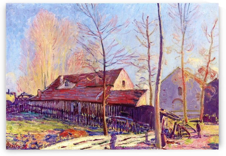 The Mills of Moret, Frost, Evening Effect by Alfred Sisley