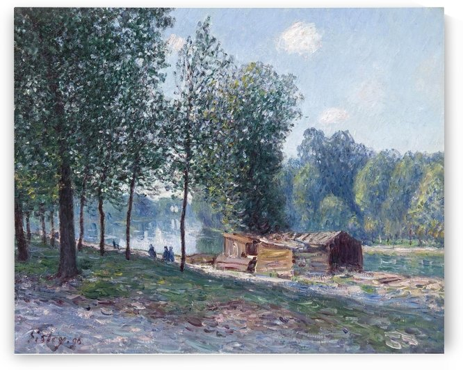 Cabins at the Bank of Loing, Morning Effect by Alfred Sisley
