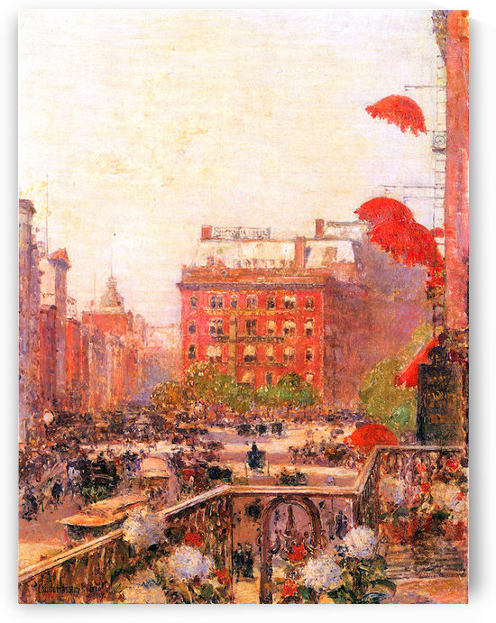 Broadway and Fifth Avenue by Hassam by Hassam