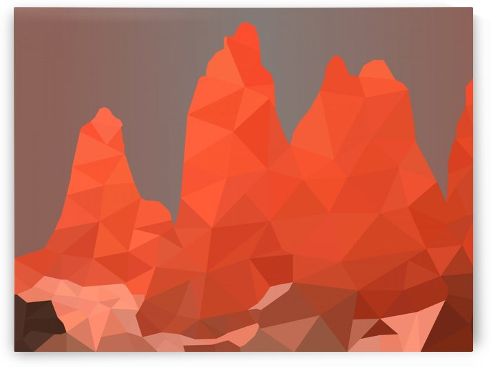 Torres del Paine National Park Low Poly Art  by rizu_designs