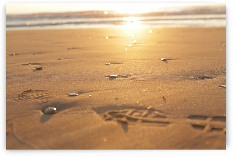 Pebble stones and footsteps on sand at sunrise by Danial Daoud