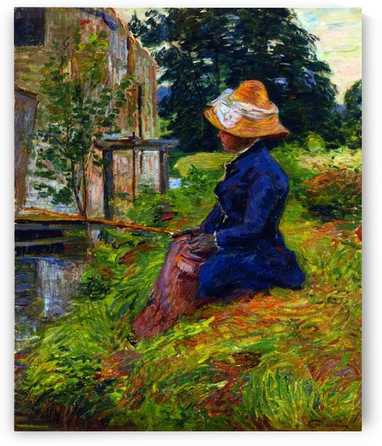 Madame Guillaumin Fishing by Armand Guillaumin