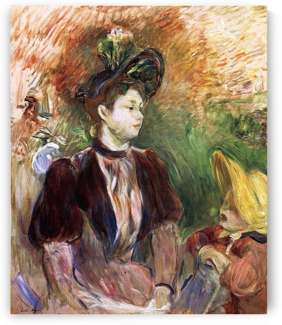 Young Woman and Child, Avenue du Bois by Berthe Morisot