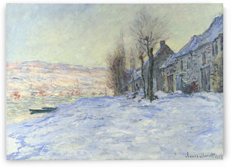 The Riverbank at Lavacourt, Snow by Claude Monet