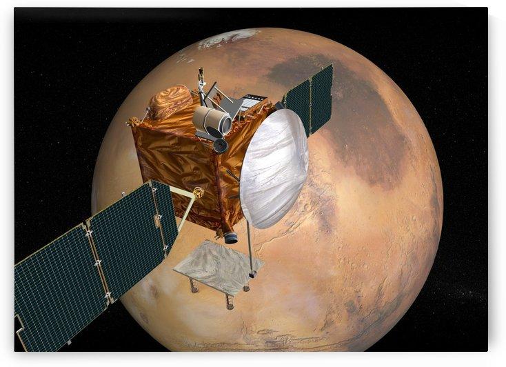 Mars Telecommunications Orbiter in flight around Mars. by StocktrekImages