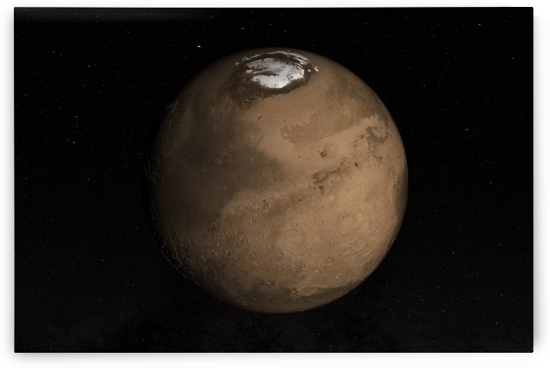 Planet Mars slightly tilted to show the Martian North Pole. by StocktrekImages