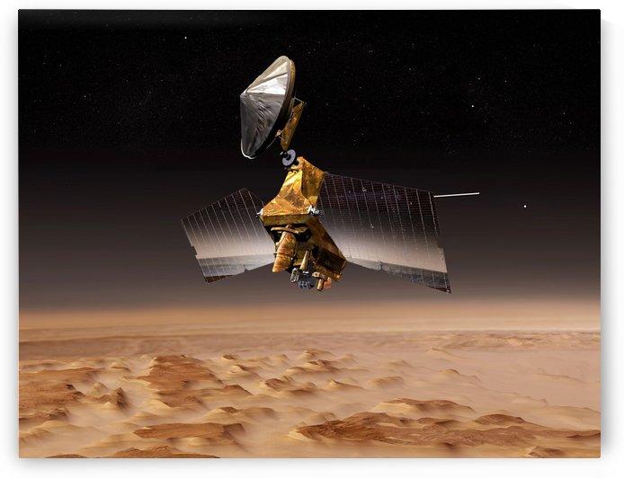 Mars Reconnaissance Orbiter passes above planet Mars. by StocktrekImages