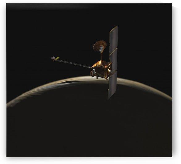 Mars Odyssey spacecraft over martian sunrise. by StocktrekImages
