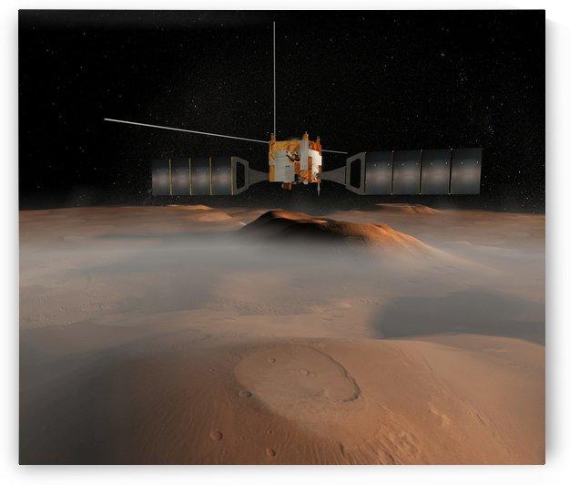 Artists concept of Mars Express spacecraft in orbit around Mars. by StocktrekImages