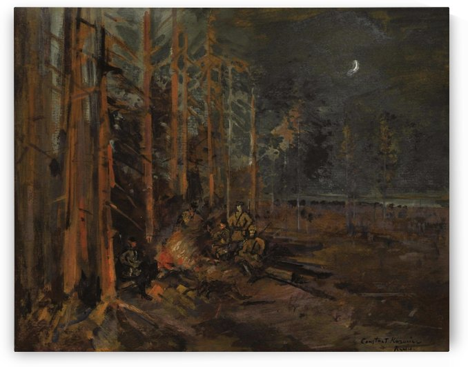 Soldiers round the Forest Campfire by Constantin Korovin
