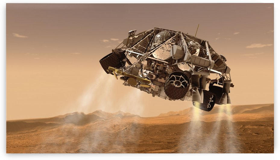 The rover and descent stage for NASAs Mars Science Laboratory spacecraft. by StocktrekImages