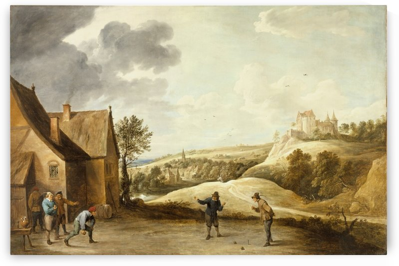 Peasants playing Bowls outside a Village Inn by David Teniers the Younger