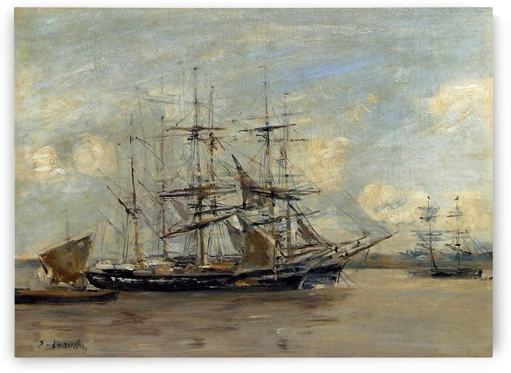 Anchored Three-Master by Eugene Boudin