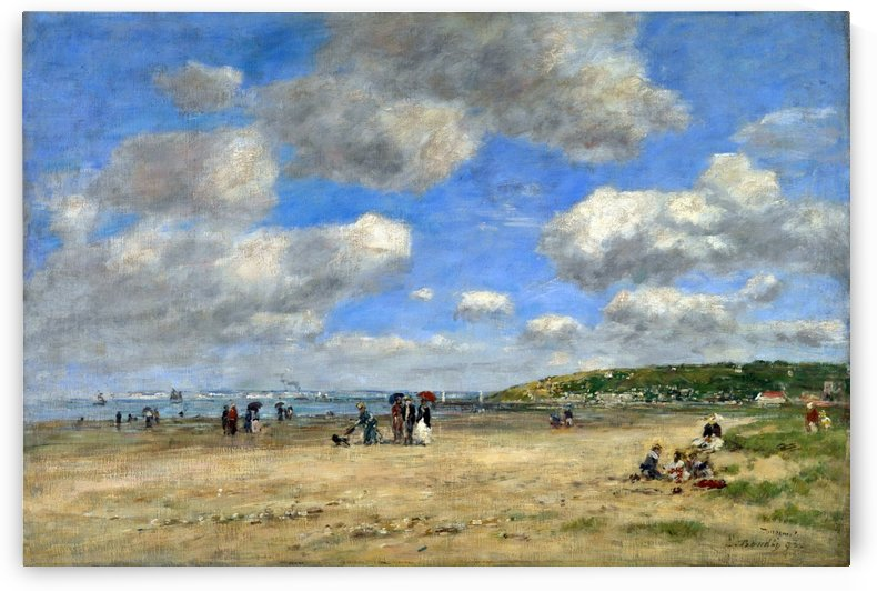 The Beach at Tourgéville-les-Sablons by Eugene Boudin