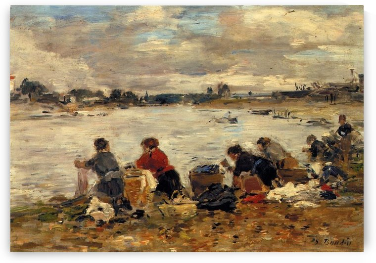 Laundresses at the Bank of the Touques oil by Eugene Boudin