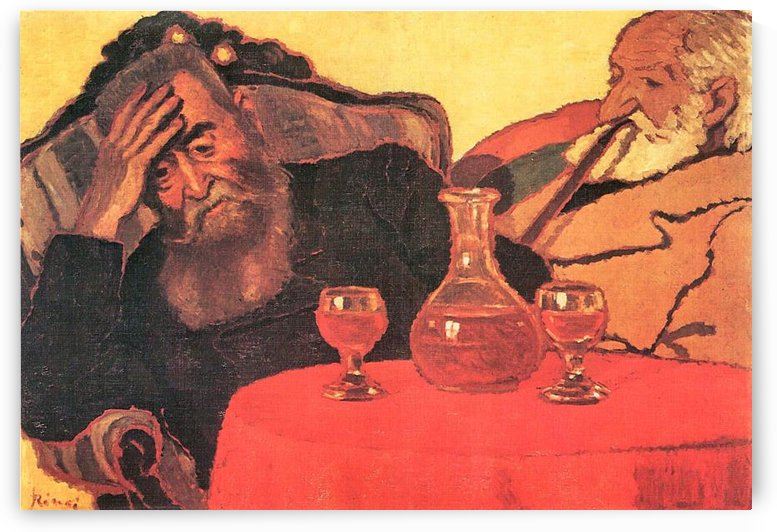 Father and uncle with the red wine  by Joseph Rippl-Ronai by Joseph Rippl-Ronai