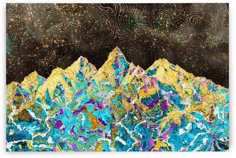 Gold Turquoise Mountain - Illustration I by Art Design Works