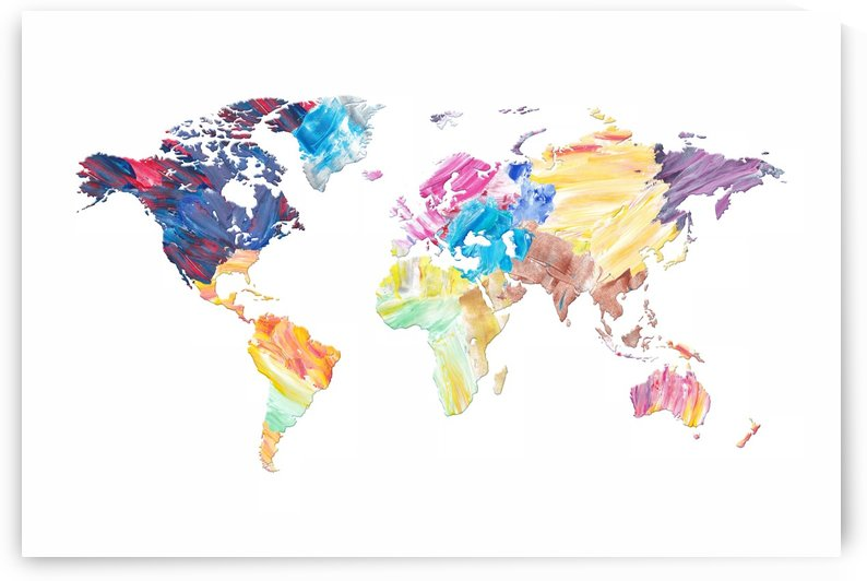 Abstract Colorful World Map by Art Design Works
