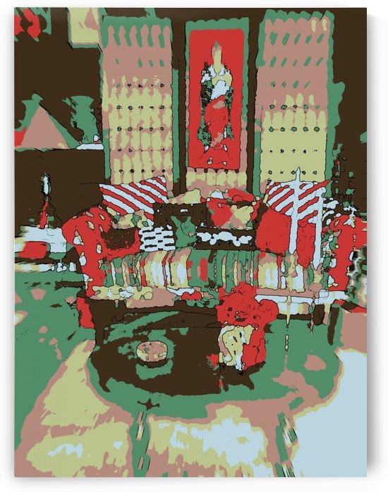 The Striped Sofa -- Red & Verdigris by Jayne Somogy