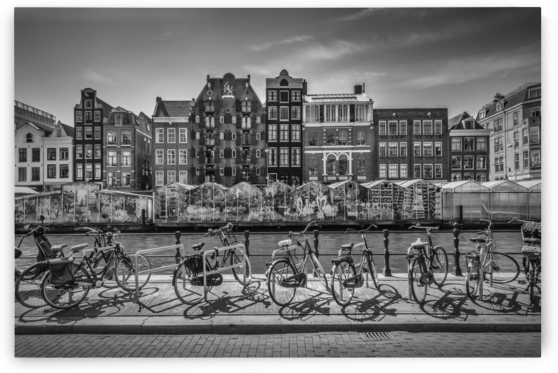 AMSTERDAM Singel Canal with Flower Market | monochrome by Melanie Viola