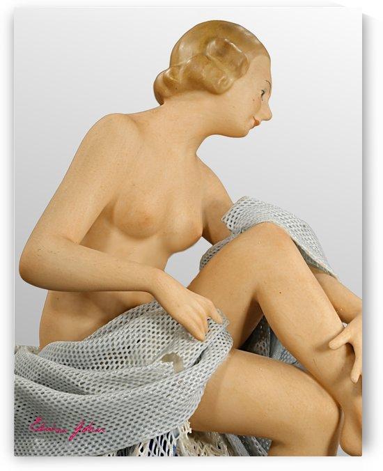 Sensuous lady bathing. Porcelain Upper torso by Edwin John