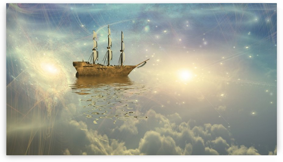 Sailing ship sails through the stars by Bruce Rolff