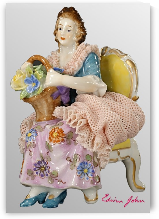 Porcelain lady in pink lace dress seated with posy of flowers by Edwin John