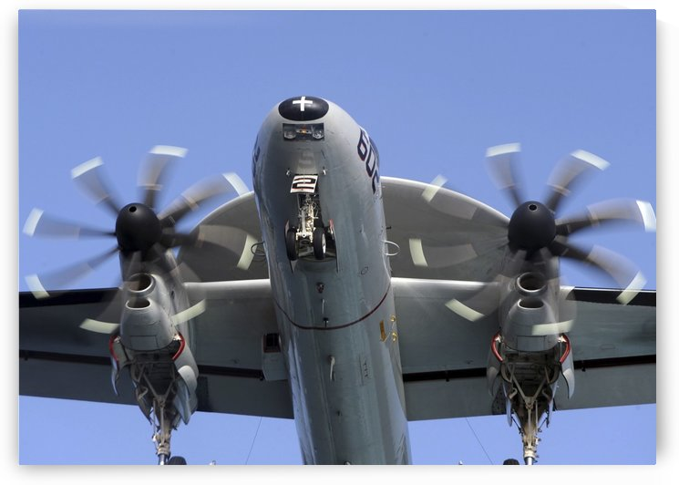 An E-2C Hawkeye prepares for landing. by StocktrekImages