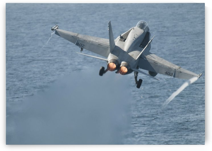 An F-A-18C Hornet taking off. by StocktrekImages