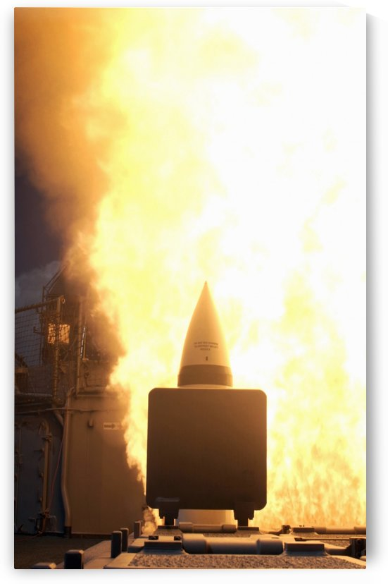 A standard missile 2 is launched from the Aegis cruiser USS Lake Erie. by StocktrekImages