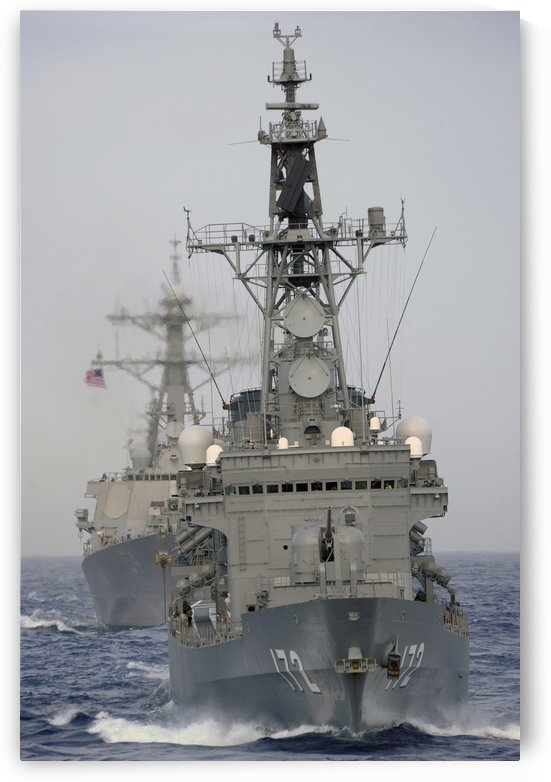 JDS Shimakaze sails in formation with U.S. Navy and Japan Maritime Self Defense Force ships. by StocktrekImages