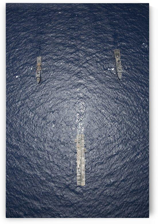 USS Kearsarge USS Carter Hall and USS San Antonio transit the Red Sea. by StocktrekImages