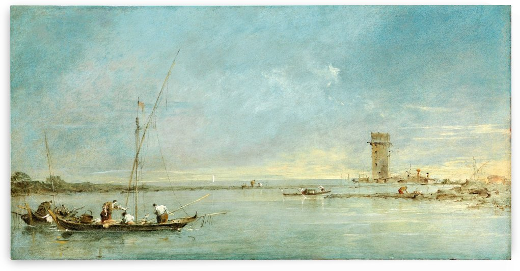 View of the Venetian Lagoon with the Tower of Malghera by Francesco Guardi