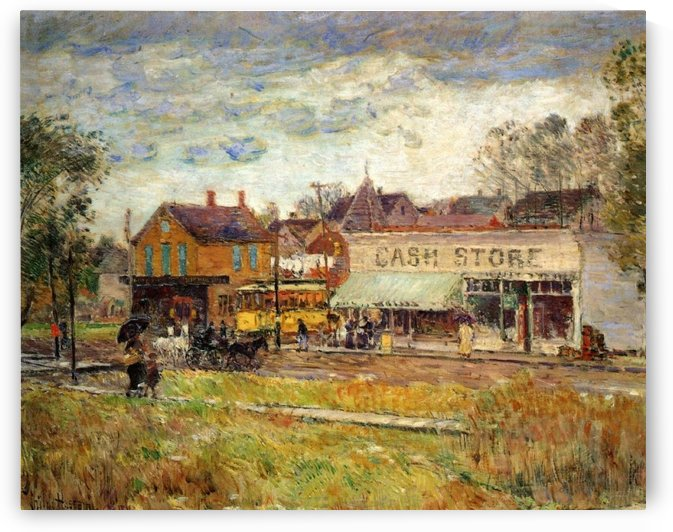 End of the Trolley Line, Oak Park, Illinois by Frederick Childe Hassam